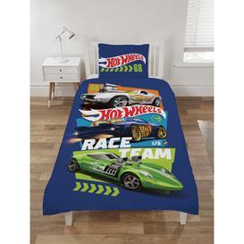 image-Hot Wheels Kids Blue Cotton Bedding Set - Single