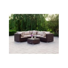 image-Florida 6 Piece Rattan Garden Corner Sofa Set in Chocolate and Cream