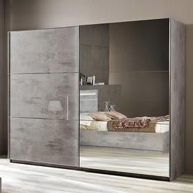 image-Abby Large Grey Marble Effect Gloss Sliding Mirrored Wardrobe