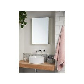 image-John Lewis & Partners Aspect Single Mirrored and Illuminated Bathroom Cabinet