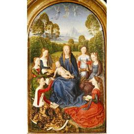 image-Virgin and Child with Saints, Left Hand Panel from The Diptych of Jean du Cellier, C.1490 by Hans Memling Framed Art Print East Urban Home Size: 100cm