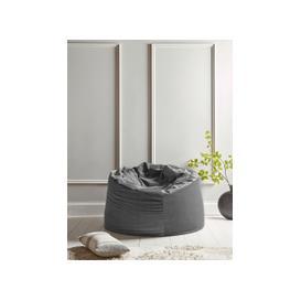 image-Velvet Oversized Beanbag - Smoke Grey