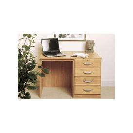 image-Small Office Desk Set With 4 Standard Drawers (Classic Oak)