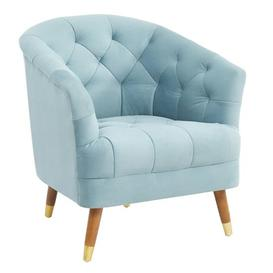 image-Hensley Velour Fabric Armchair In Blue With Oak Legs