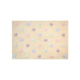 image-Lorena Canals Tricolour Stars Washable Kids Rug - Grey with Blue Stars