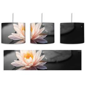 image-Beautiful Lotus in a Pond 1-Light Drum Pendant East Urban Home Shade Colour: Grey/Cream/Yellow
