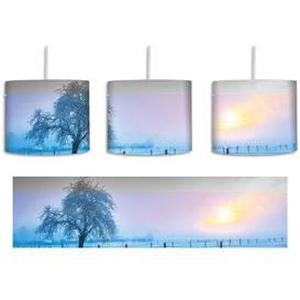 image-Lone Tree on a Wintery Landscape 1-Light Drum Pendant East Urban Home Shade colour: Blue/Green/Yellow