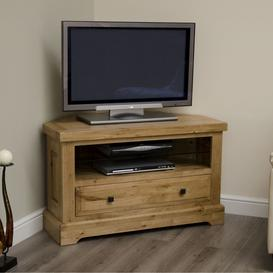 image-Deluxe Solid Oak Furniture Corner TV Unit