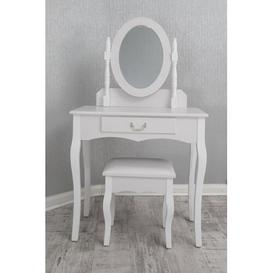 image-Roemer PU Dressing Table Set with Mirror Lily Manor Colour: White