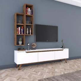 "image-Magnhild Entertainment Unit for TVs up to 55"" Mercury Row Colour: Walnut/White"