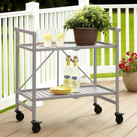image-Cosco Outdoor Living Intellifit Silver Folding 2 Shelf Serving Cart