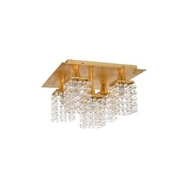 image-Eglo 97721 Pyton Gold 5 Light LED Semi Flush Ceiling Light In Gold And Crystal