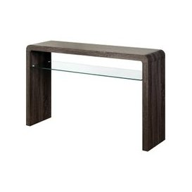 image-Cannock Large Console Table In Charcoal With 1 Glass Shelf