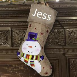 image-Snowman Personalised Christmas Stocking East Urban Home Colour: White