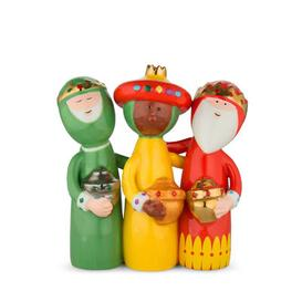 image-Uno, due, tre re magi Christmas crib figure - / Hand-painted porcelain by A di Alessi Multicoulered