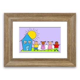 image-'Happy Children in the Sun' Framed Graphic Art in Lilac East Urban Home Size: 93 cm H x 126 cm W, Frame Options: Teak