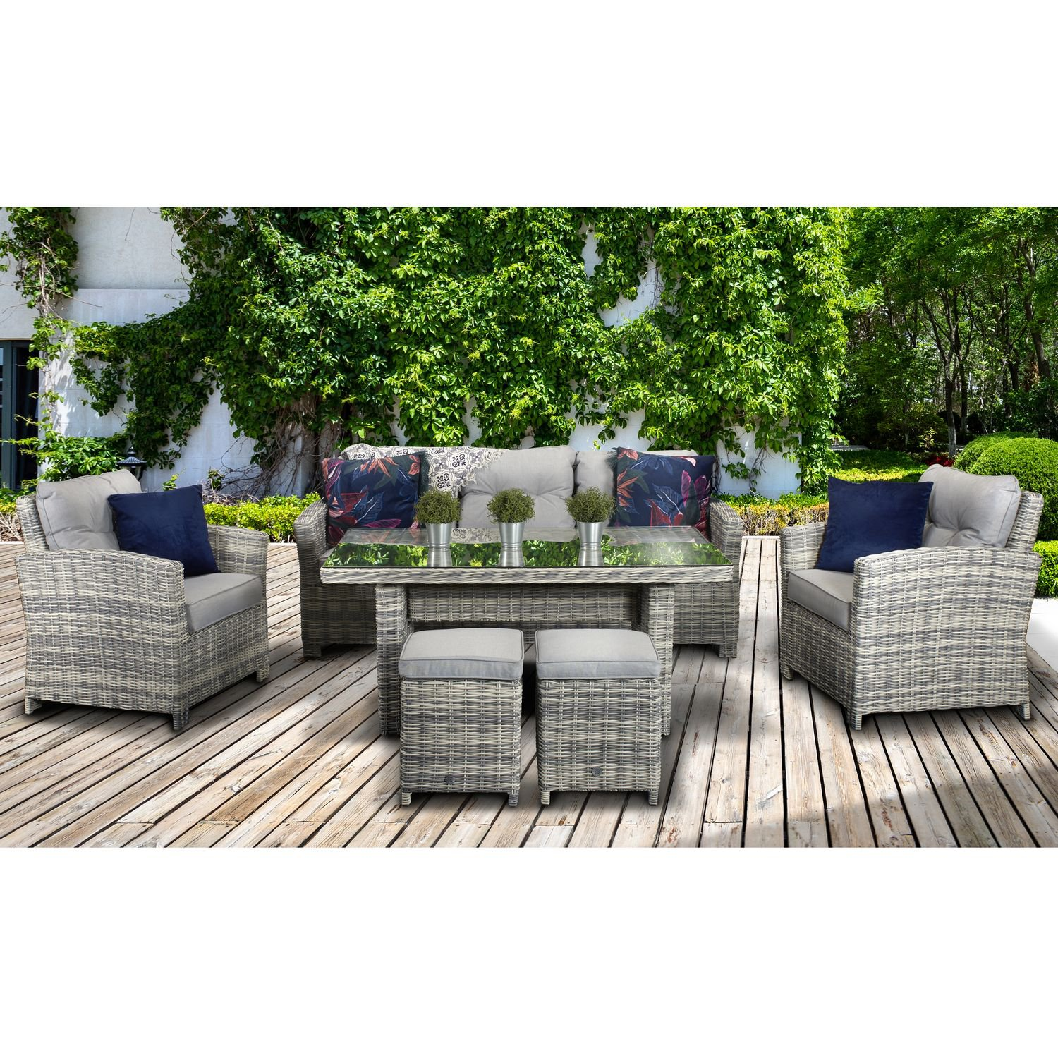 image-Signature Weave Garden Furniture Amy Creamy Grey 3 Seater Sofa Dining Set
