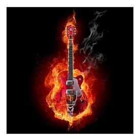image-Lambeth Guitar in Flames 3.36m x 336cm Children's Wallpaper Brayden Studio