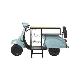 image-Blue Scooter Bar Unit in Metal and Mango Wood Scooter