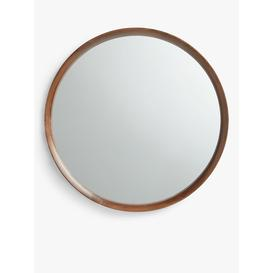 image-John Lewis & Partners Astrid Round Mirror, Walnut Wood, 64cm