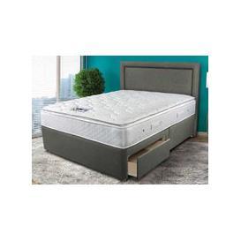 """image-Sleepeezee Memory Comfort 1000 Pocket Divan Set - Double (4'6\"""" x 6'3\""""), 2 Drawers, Sleepeezee_Tweed Charcoal"""