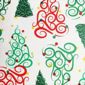 """image-Christmas PEVA Tablecloth - Curly Trees 50 x 50\"""""""
