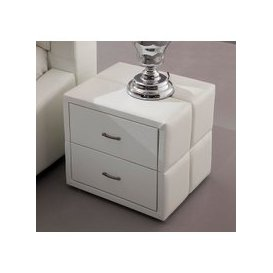 image-Vespa Contemporary 2 Drawer White Faux Leather Bedside Drawers