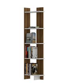 image-Hutcherson Corner Bookcase Ebern Designs Colour: Walnut/White