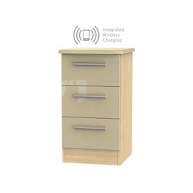 image-Knightsbridge 3 Drawer Bedside Cabinet with Integrated Wireless Charging - High Gloss Mushroom and Light Oak