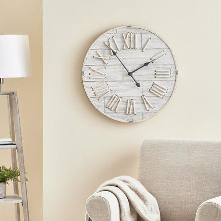 image-Rope 60cm Wall Clock White Light Wood
