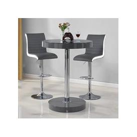 image-Havana Bar Table In Grey With 2 Ritz Grey And White Bar Stools