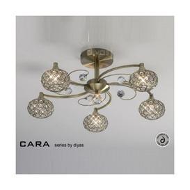 image-IL30945 Cara Antique Brass 5 Light Flush Ceiling Light