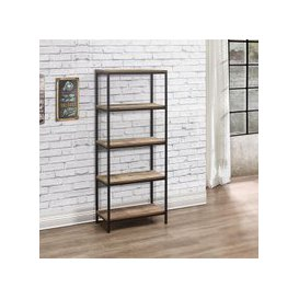 image-Coruna Wooden Bookcase Tall In Rustic And Metal Frame