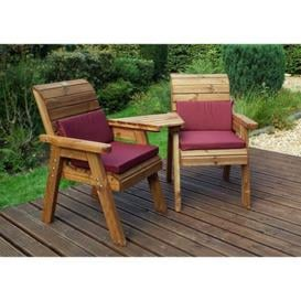image-Charles Taylor 2 Seat Companion Angled Garden Bench - Burgundy Cushion