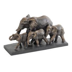 image-Libra Antique Bronze Parade of Elephants Sculpture