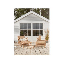 image-NEW Indoor Outdoor Acacia Lounge Chair & Foot Stool