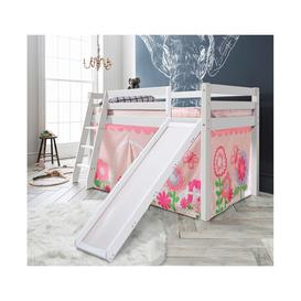 image-Cabin Bed Thor Midsleeper in White with Slide & Floral Tent Tower