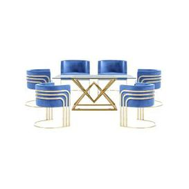 image-Parma Glass Dining Set In Gold Base With 6 Blue Lula Chairs