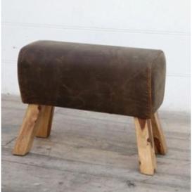 image-Brushed Buffalo Leather Pommel Medium Stool