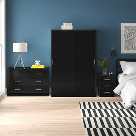 image-Eva XL 3 Piece Bedroom Set Zipcode Design Colour: Black Oak/Gloss Black