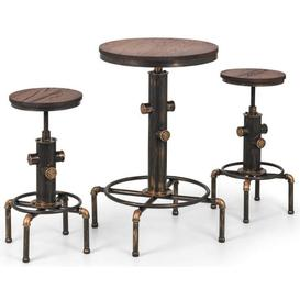 image-Julian Bowen Rockport Brushed Copper Bar Table and 2 Stool