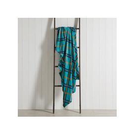 image-Festive Folk Check Fleece 130cm x 170cm Throw Blue, Yellow and Purple