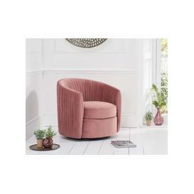 image-Sadie Blush Velvet Swivel Chair