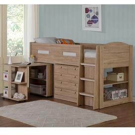 image-Agnew Single Mid Sleeper Bed with Furniture Set Mack + Milo Colour: Sonoma Oak