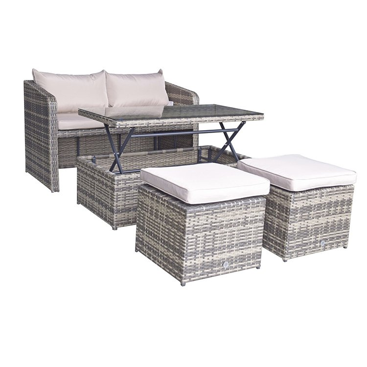 image-Signature Weave Garden Furniture Gemma Brown Nature Stacking Compact Sofa Dining Set