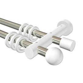 image-Jakin Double Curtain Pole Set Symple Stuff Size: 5cm H x 200cm W x 18cm D, Finish: Silver/White