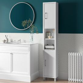 image-34 x 194cm Free Standing Tall Bathroom Cabinet Mercury Row Finish: White