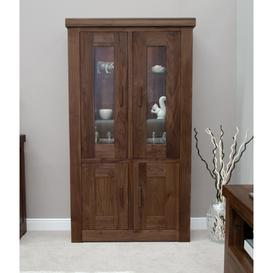 image-Homestyle Walnut Furniture 2 Door Glass Display Unit