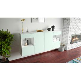 image-Thirsk Sideboard Brayden Studio Colour (Body/Front): White Mat/Light blue