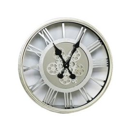 image-Rinan Round Wall Clock In Silver With Roman Numerals